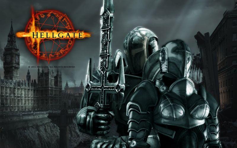 HELLGATE LONDON fantasy action sci-fi poster warrior knight armor weapon sword wallpaper