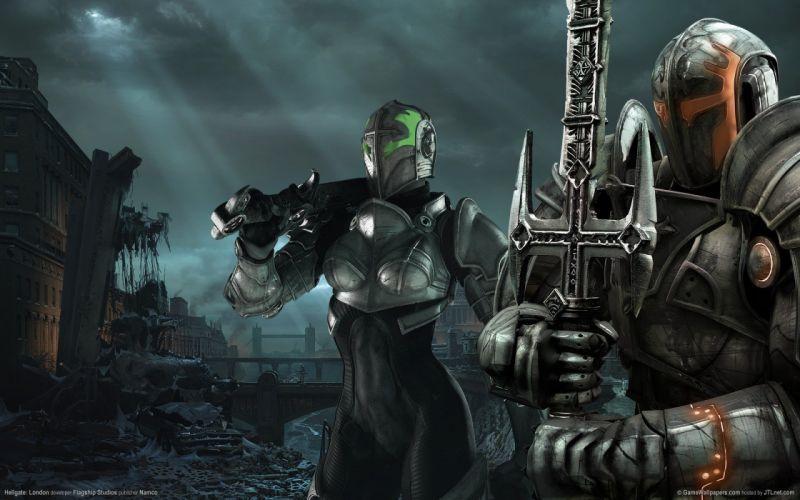 HELLGATE LONDON fantasy action sci-fi warrior weapon gun sword armor wallpaper