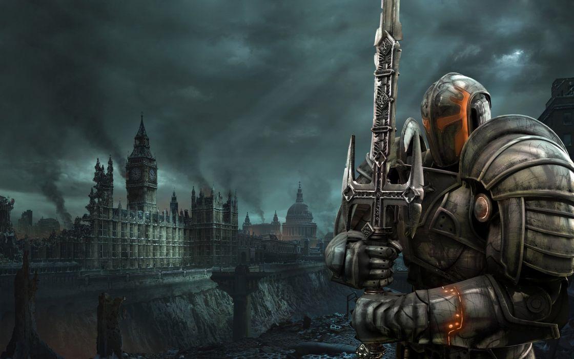 HELLGATE LONDON fantasy action sci-fi warrior armor city armor apocalyptic weapon sword wallpaper