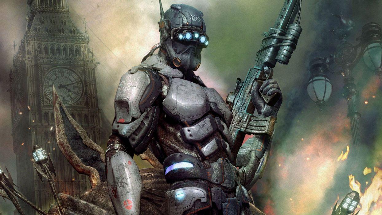 HELLGATE LONDON fantasy action sci-fi warrior weapon gun armor wallpaper