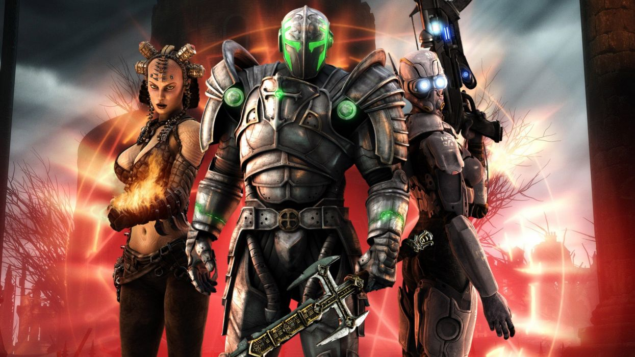 HELLGATE LONDON fantasy action sci-fi warrior armor weapon wallpaper