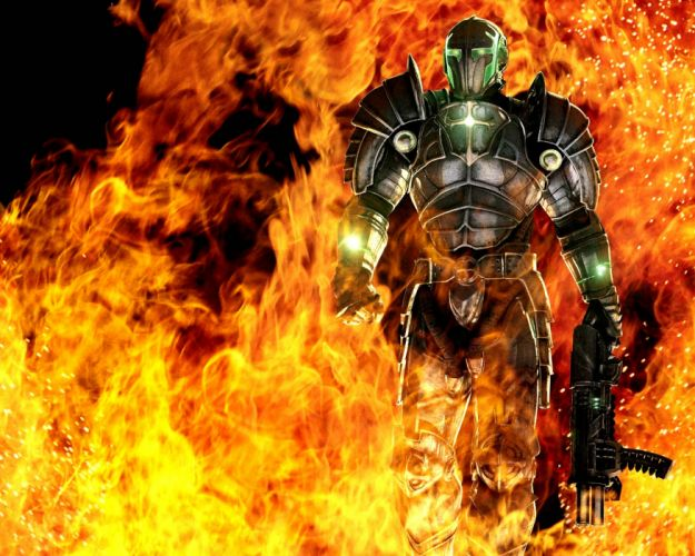HELLGATE LONDON fantasy action sci-fi warrior fire weapon gun armor wallpaper