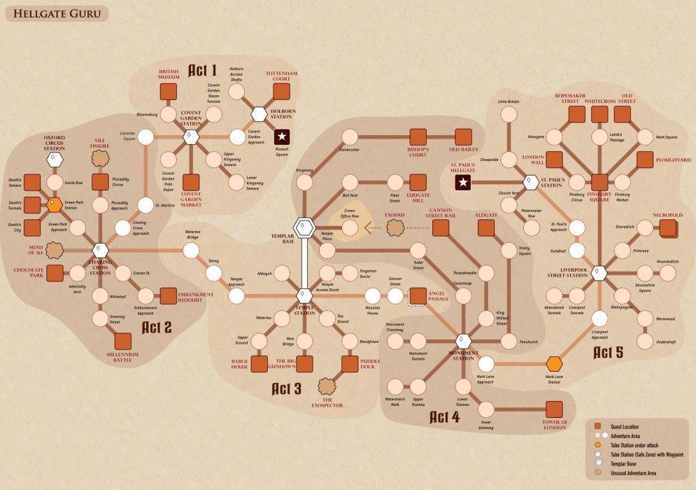 HELLGATE LONDON fantasy action sci-fi poster map wallpaper