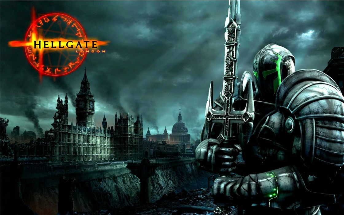 HELLGATE LONDON fantasy action sci-fi poster warrior knight armor weapon sword wallpaper