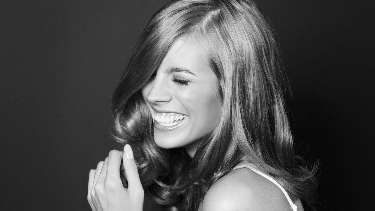 blondes women black and white playmates smiling Sarah wallpaper