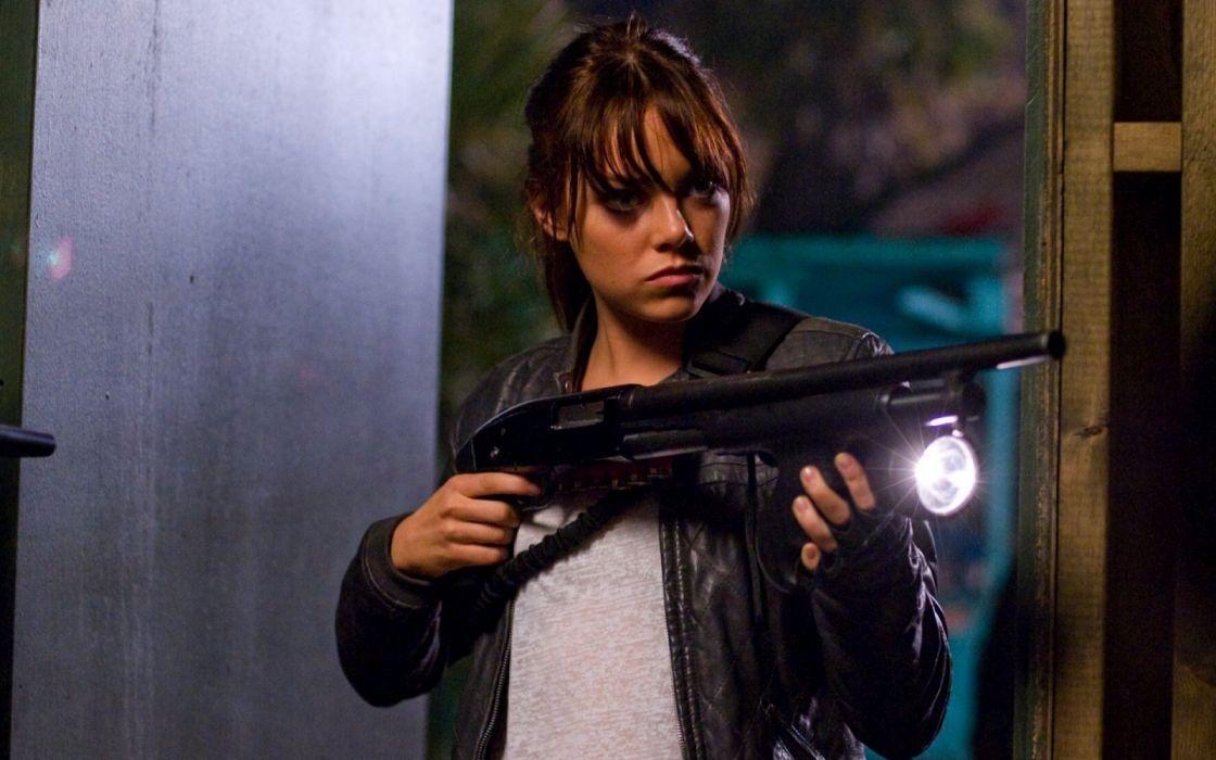 shotguns Emma Stone Zombieland wallpaper
