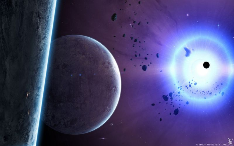 outer space stars planets shining rocks science fiction sci-fi wallpaper