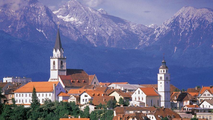 mountains houses towns churches Slovenia wallpaper