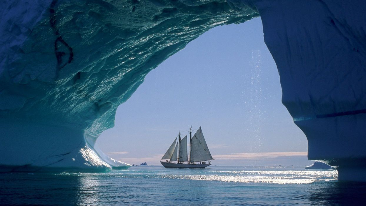 icebergs sailboats Greenland sea wallpaper