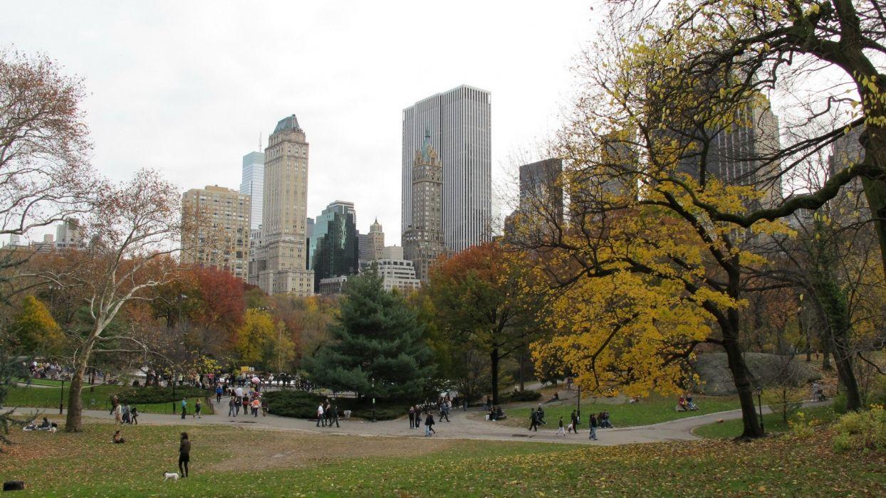 landscapes cityscapes USA New York City Manhattan Central Park wallpaper