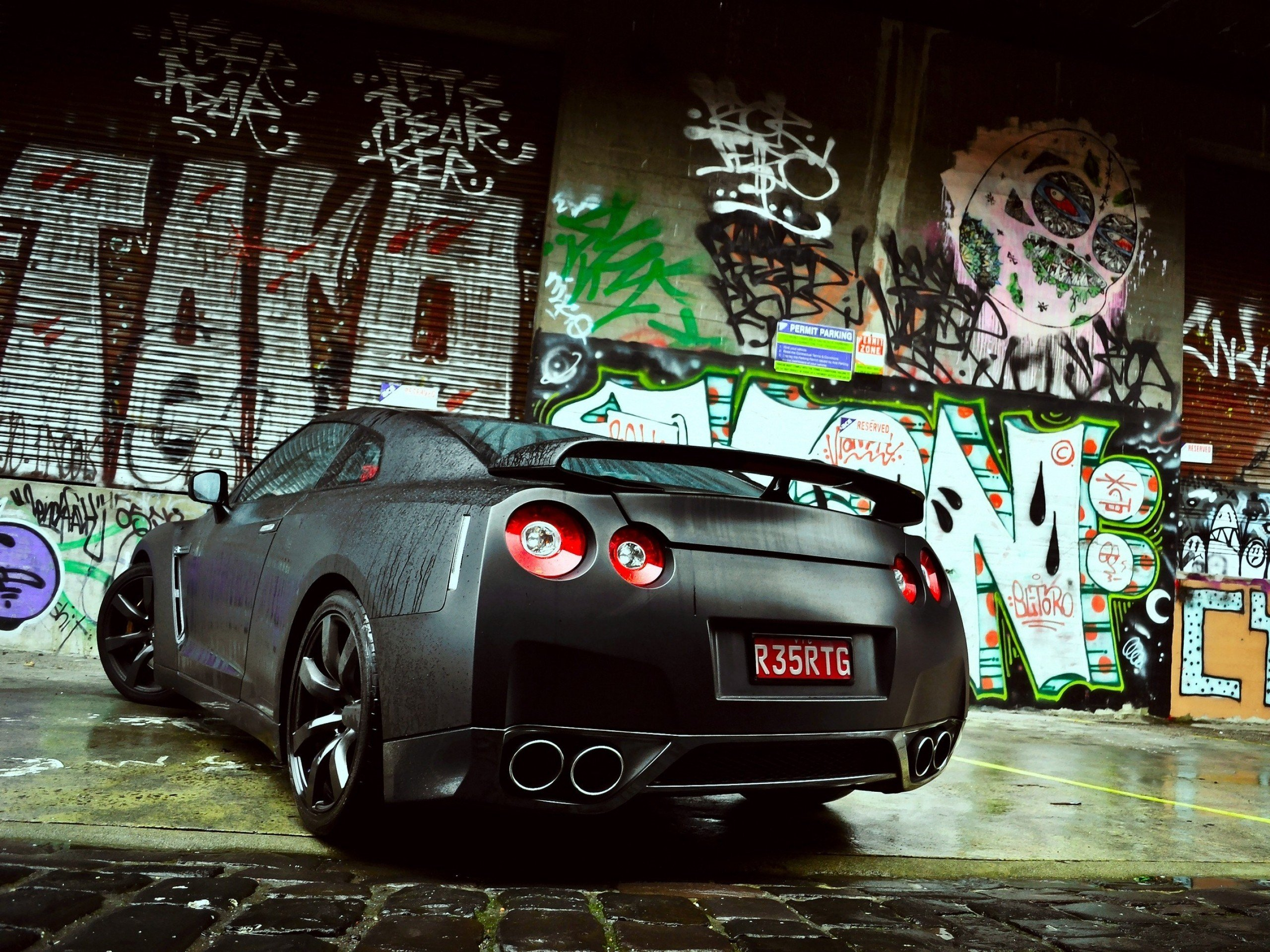 Matte Black Nissan Gtr Wallpaper >> Wall cars graffiti Nissan matte Nissan GTR wallpaper | 2560x1920 | 286214 | WallpaperUP