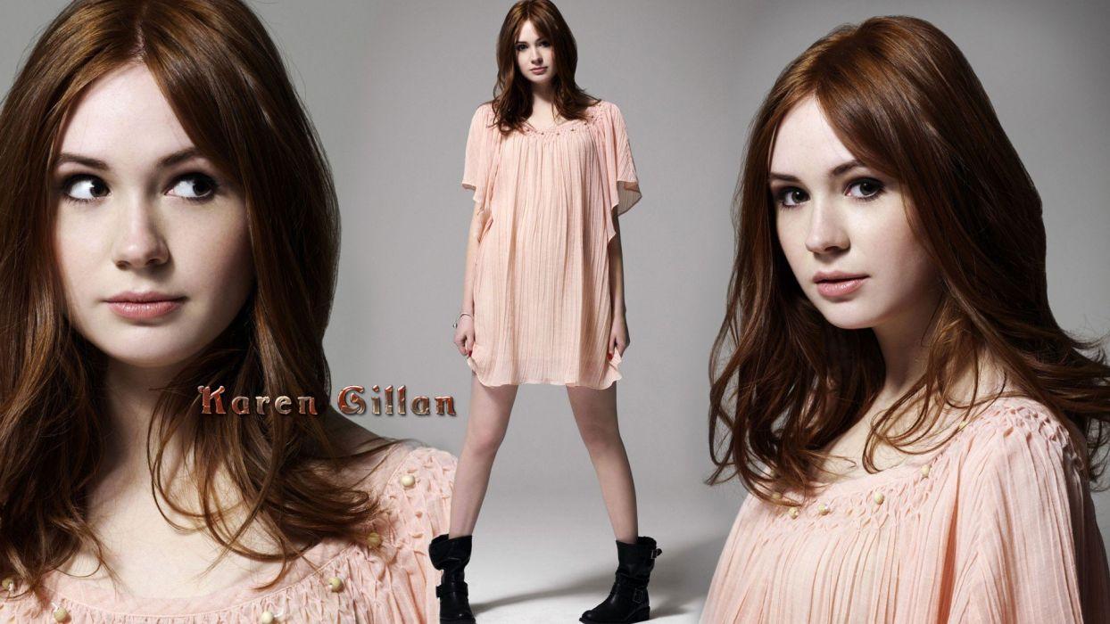 women dress actress redheads Karen Gillan wallpaper