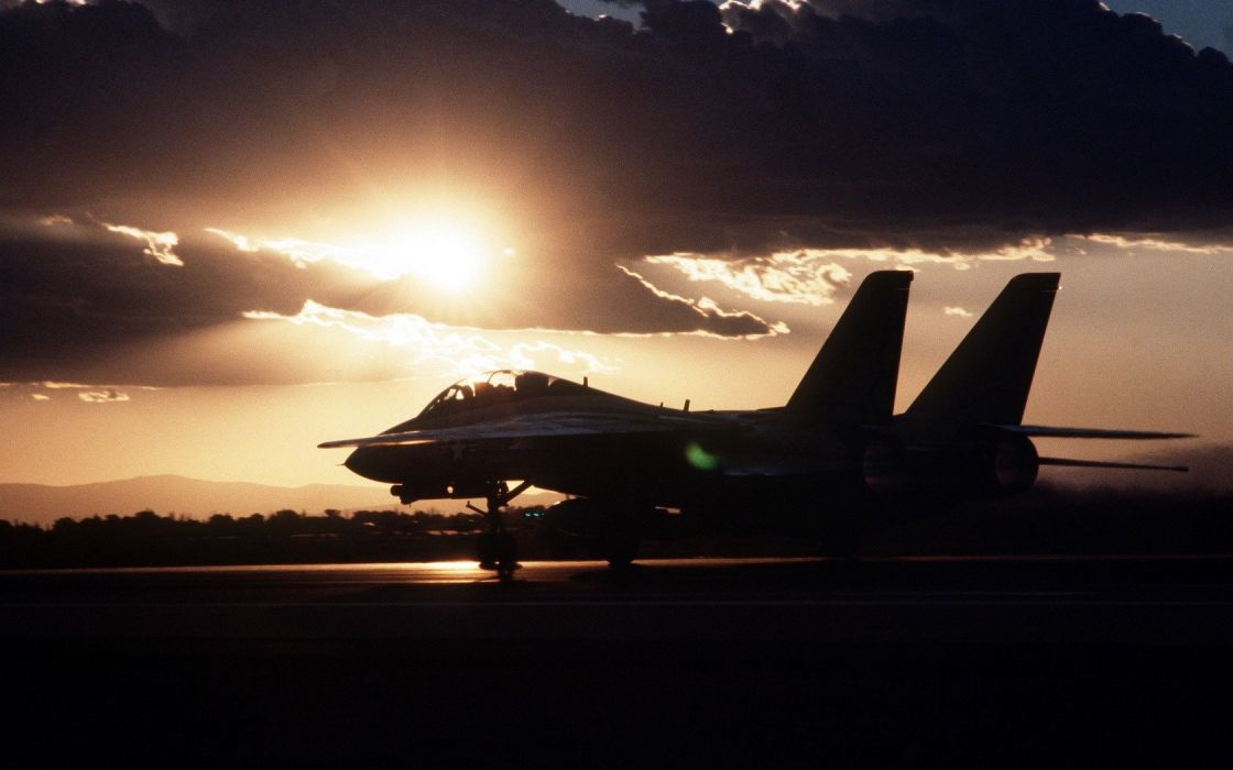 sunset aircraft tomcat landing F-14 Tomcat wallpaper