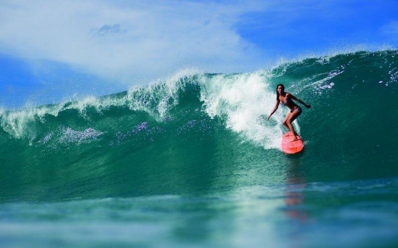 women surfing sea wallpaper