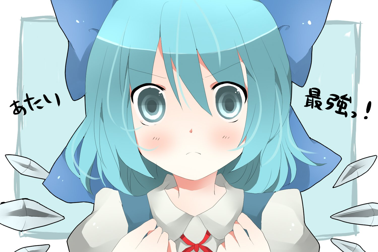 Video games ice touhou wings dress text blue eyes cirno