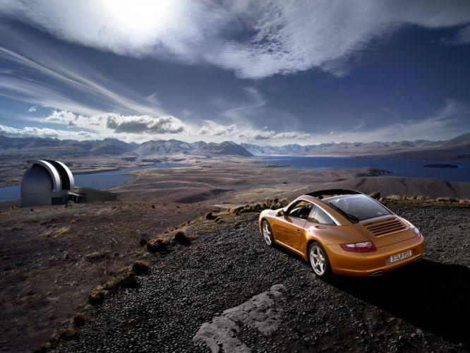 mountains landscapes Porsche cars German lakes Porsche Targa 4 blue skies wallpaper