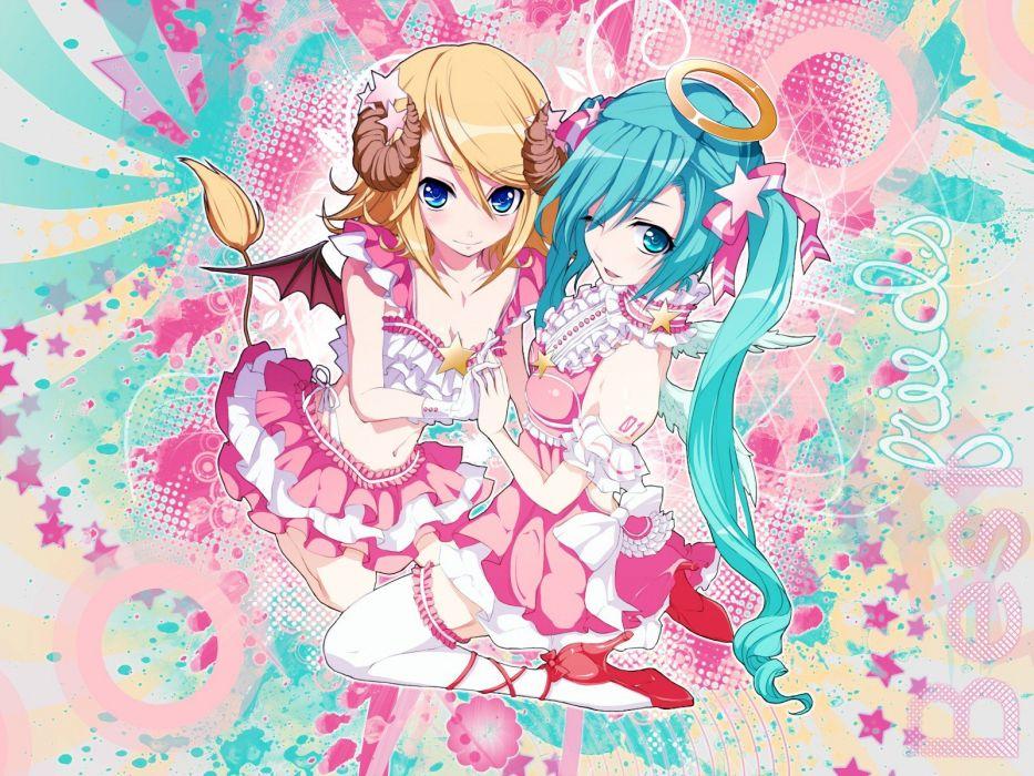 blondes Vocaloid pink Hatsune Miku blue eyes Kagamine Rin twintails aqua hair wallpaper