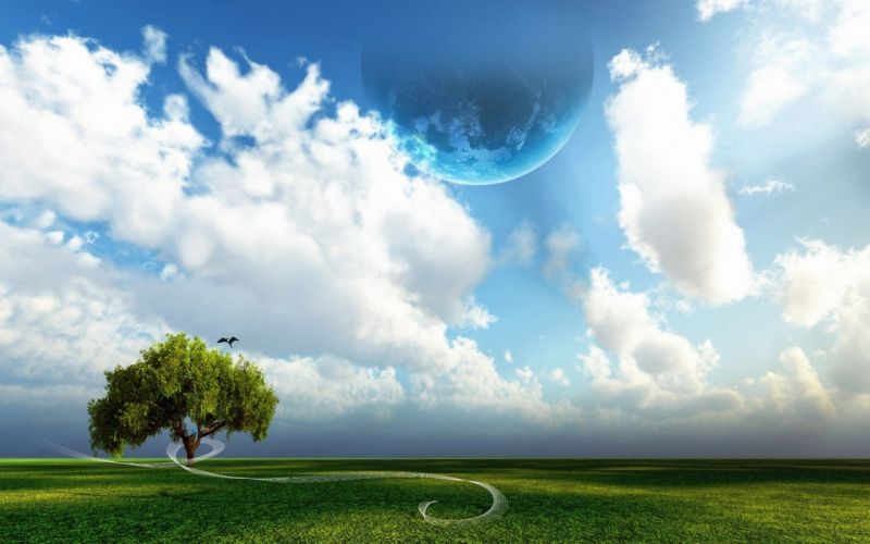 abstract clouds trees planets skyscapes wallpaper