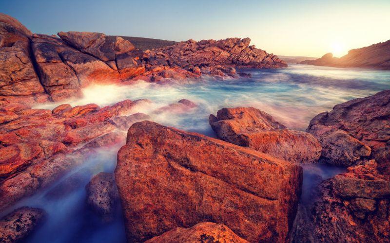 landscapes rocks sunlight Australia sea beaches wallpaper