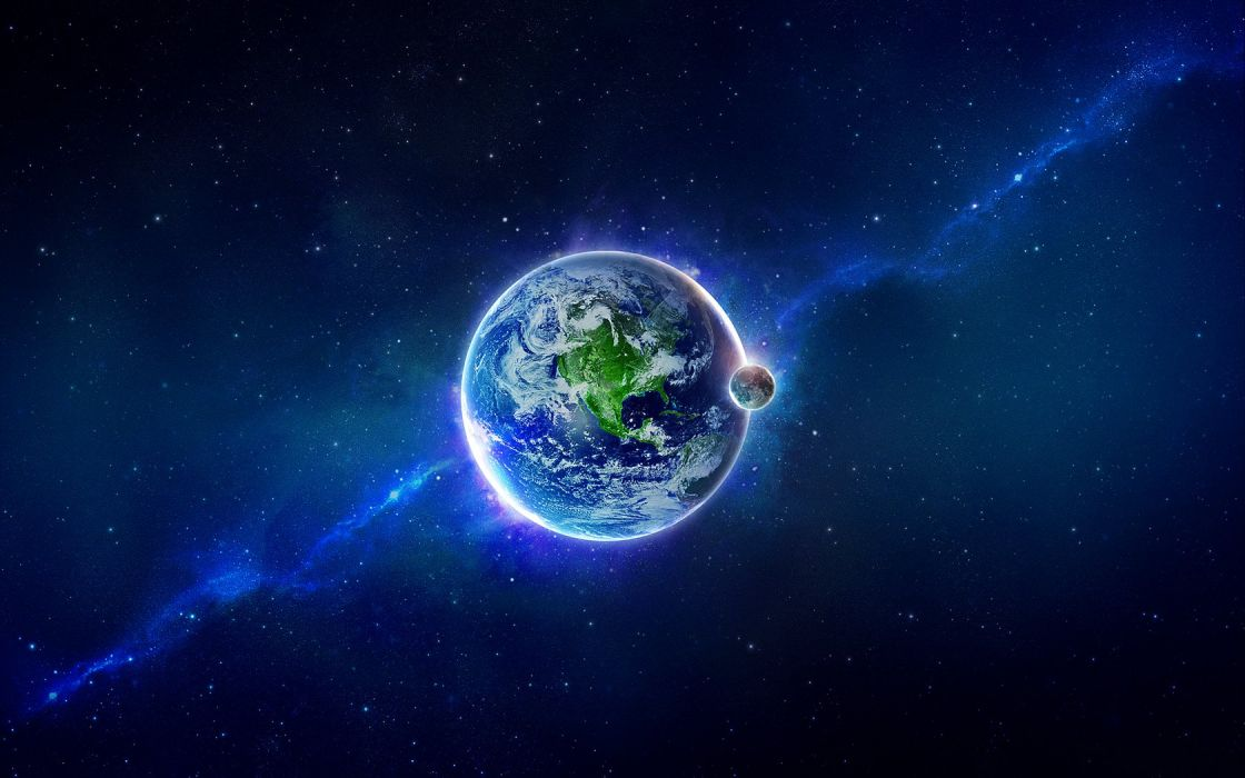 outer space stars planets Moon Earth wallpaper
