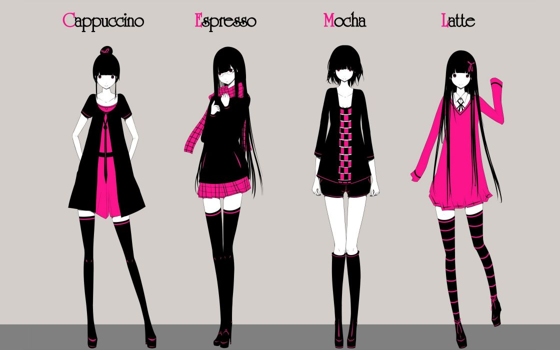 boots dress text tie skirts glasses long hair shoes jackets short hair thigh highs smiling shirts meganekko shorts selective coloring scarfs hair ribbons simple background anime girls hair in face gray background original characters striped legwear haru@ wallpaper