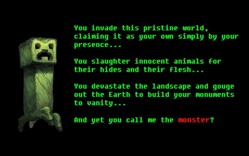 video games monsters text creeper Minecraft wallpaper