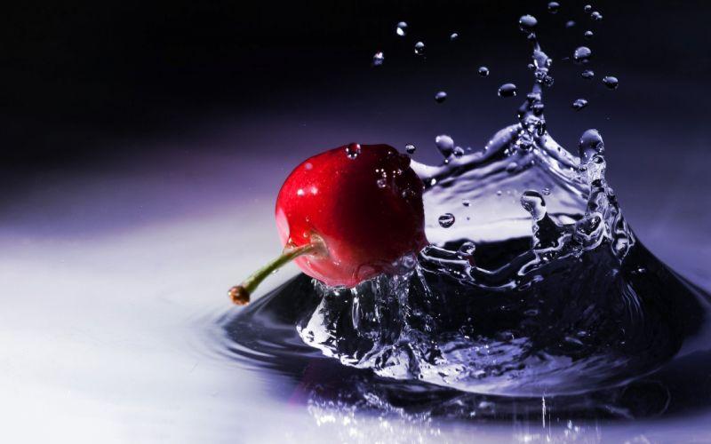 cherries water drops macro berries splashes wallpaper