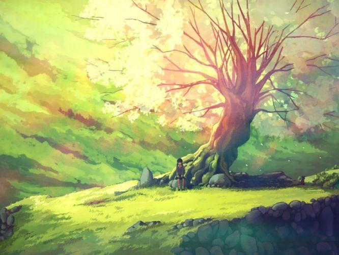 nature trees scenic anime girls wallpaper