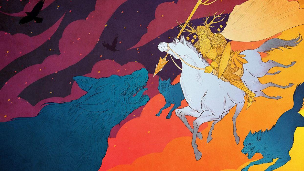 blue white yellow pink birds purple horses Odin wolves wallpaper