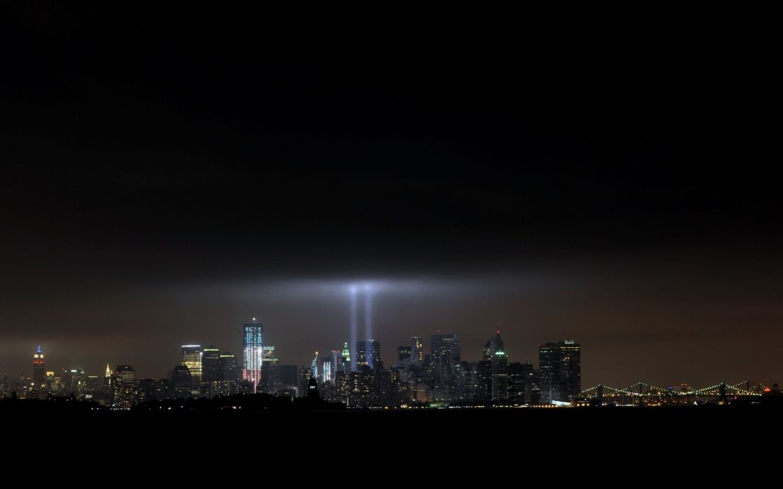 light night New York City Statue of Liberty Empire State Building twin towers Chrysler Building cities wallpaper