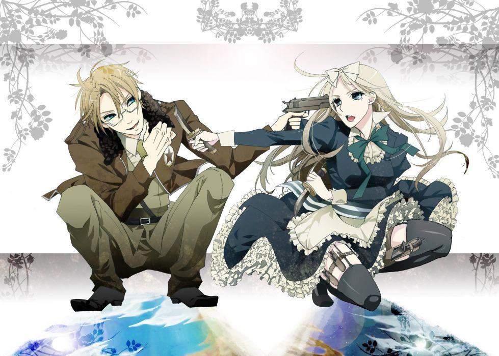 blondes guns USA knives anime Axis Powers Hetalia Belarus anime girls wallpaper