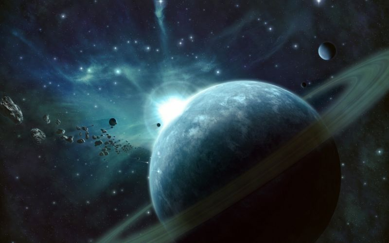 outer space stars planets rings wallpaper