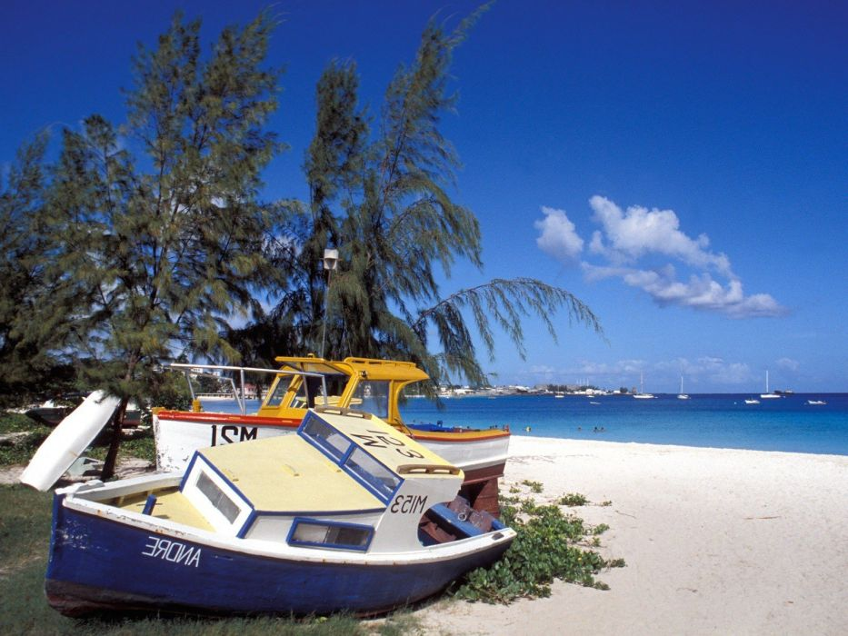 landscapes nature boats fishing Barbados wallpaper