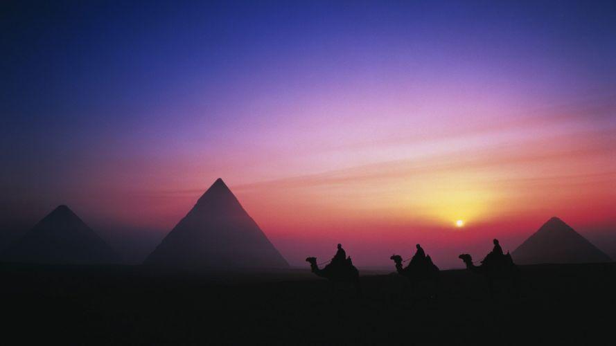 Sun Egypt morning Giza pyramids Great Pyramid of Giza wallpaper