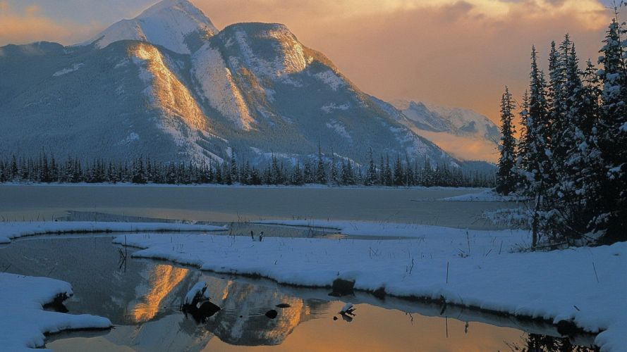 mountains landscapes nature winter trees skyscapes wallpaper