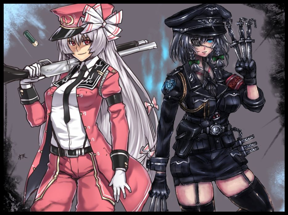 pants video games Touhou uniforms guns gloves military stockings blue eyes tie skirts long hair belts shotguns weapons eyepatch Izayoi Sakuya jackets Nazi Fujiwara no Mokou short hair thigh highs bows shirts knives braids white hair gray hair hats coat ar wallpaper