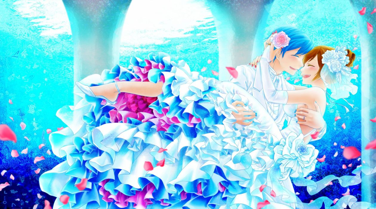 brunettes water Vocaloid gloves flowers brown Kaito (Vocaloid) blue hair short hair anime boys closed eyes wedding dresses Meiko anime girls wallpaper