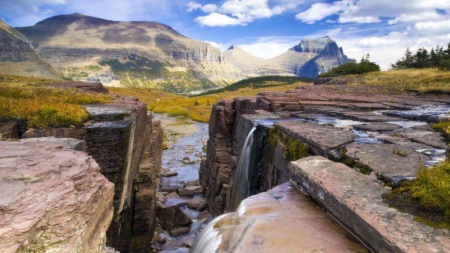 falls glacier National Park wallpaper