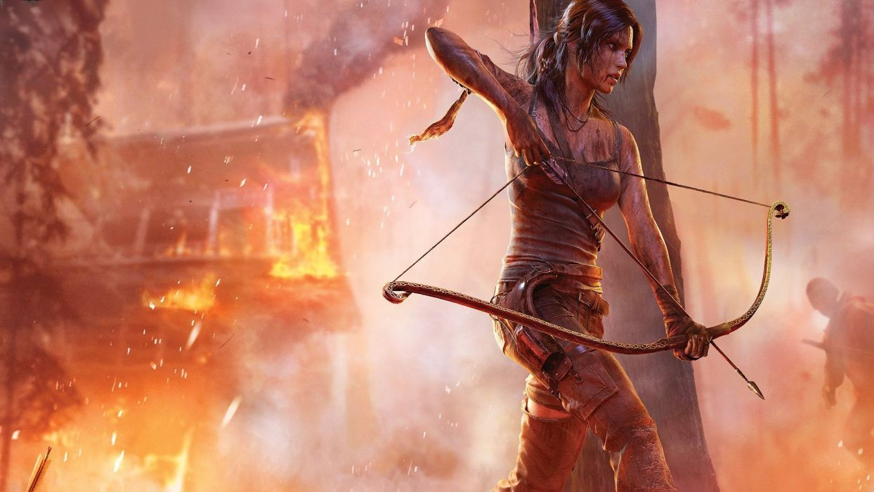 brunettes video games Tomb Raider Lara Croft crossbows wallpaper