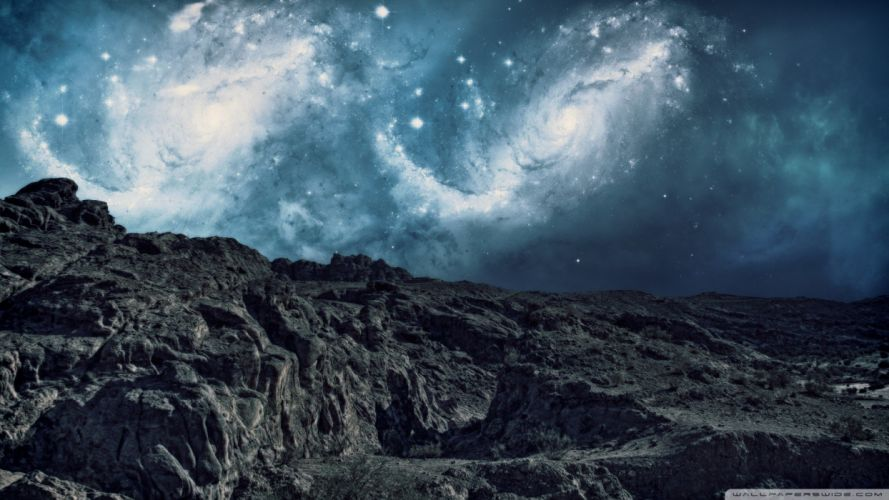 mountains nature outer space artwork skies wallpaper