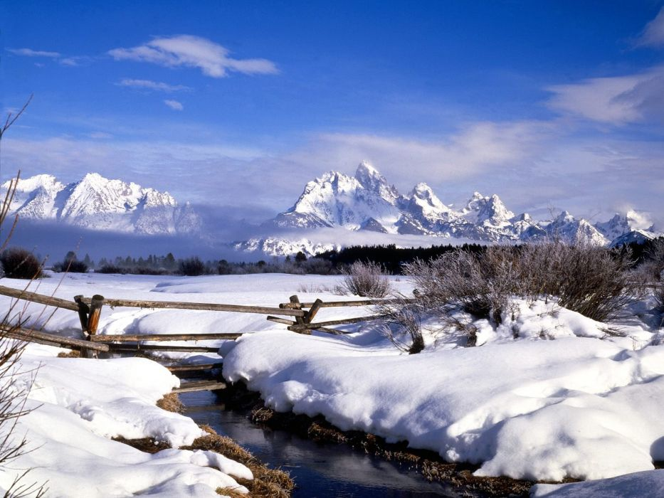 mountains landscapes snow fences wallpaper