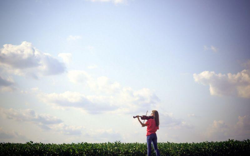 women nature violins fiddles wallpaper