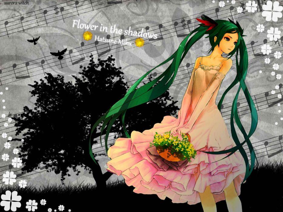 women Vocaloid Hatsune Miku green hair twintails bare shoulders wallpaper