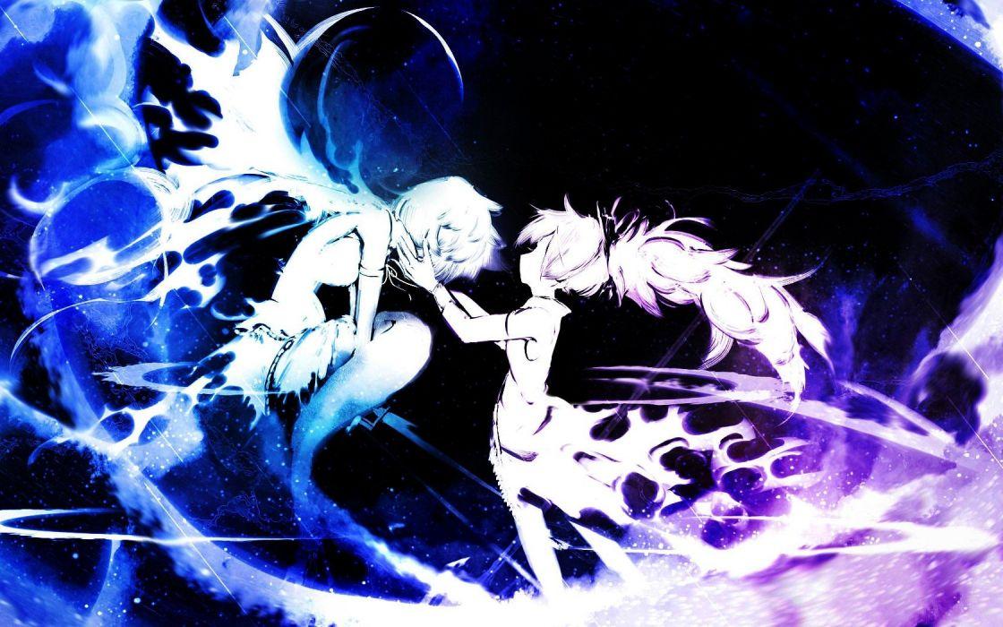 blue purple Mahou Shoujo Madoka Magica Miki Sayaka Sakura Kyouko anime anime girls wallpaper