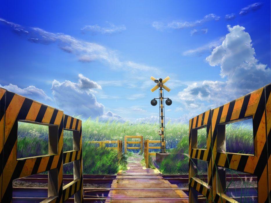 clouds railroad tracks drawings anime railroads wallpaper