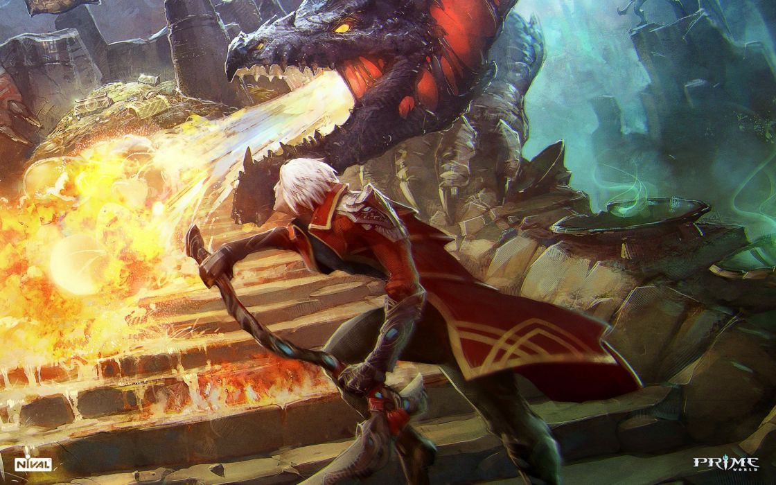 flames video games red dragons fire weapons video battles artwork white hair Prime World game wallpaper