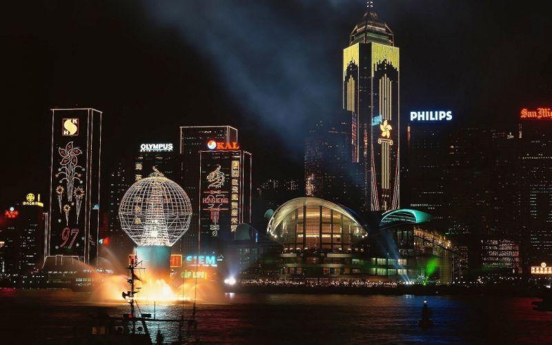 water cityscapes night Hong Kong logos cities Olympus Philips man-made wallpaper