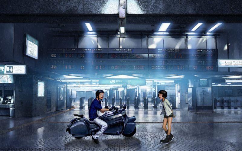 boots skirts Range Murata smiling anime anime boys closed eyes motorbikes anime girls wallpaper