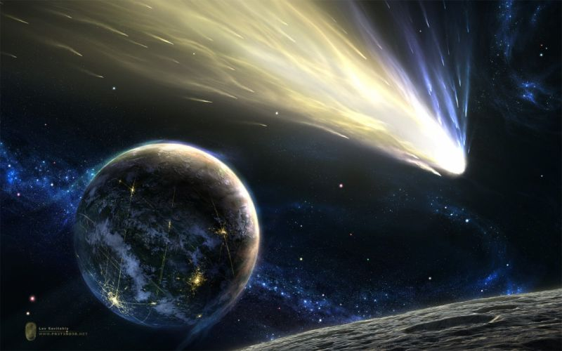 outer space planets meteorite wallpaper