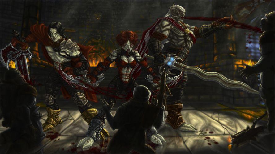 dark blood fantasy art warriors evil wallpaper